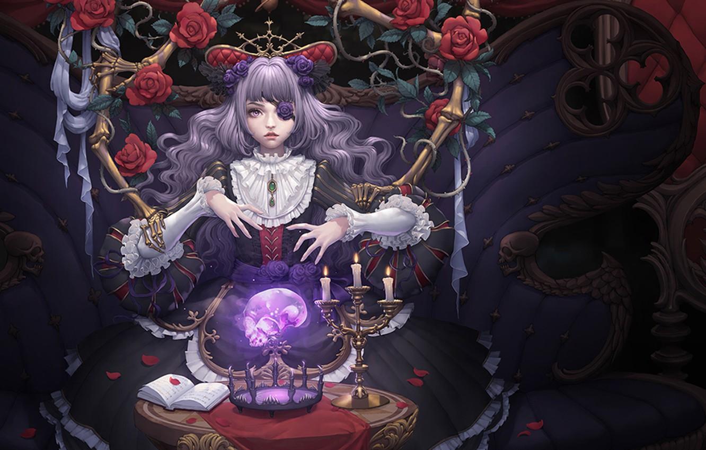 Photo wallpaper girl, skull, roses, candles, petals