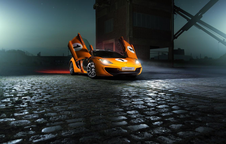 Photo wallpaper McLaren, Orange, Color, MP4-12C, Supercar, Ligth, Nigth, Beam