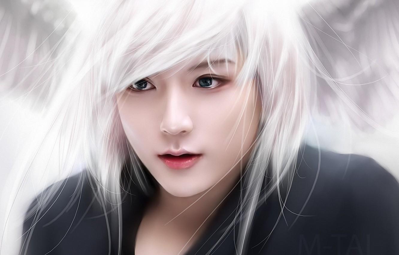 Photo wallpaper girl, face, art, white hair, M-Tai