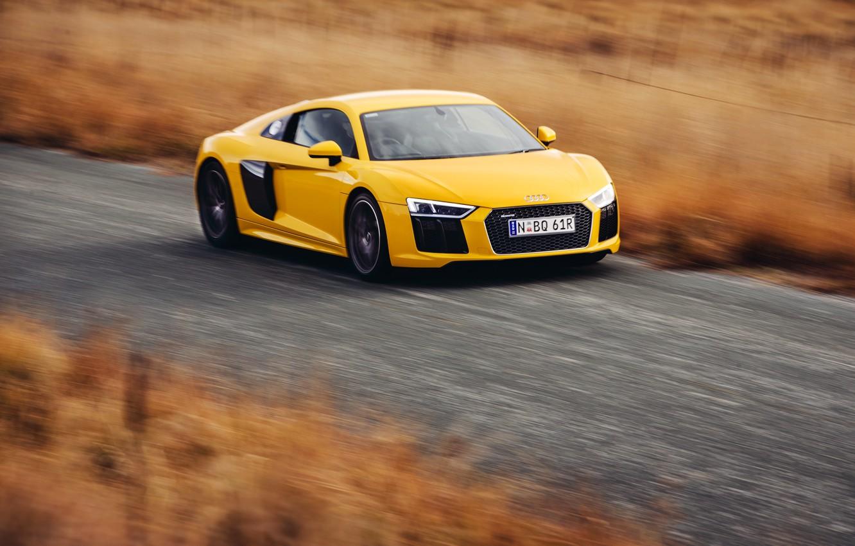 Photo wallpaper car, auto, Audi, Audi, speed, yellow, speed, V10