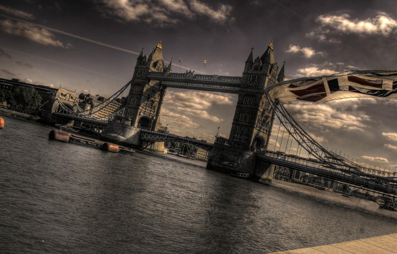 Photo wallpaper bridge, London, flag, Thames