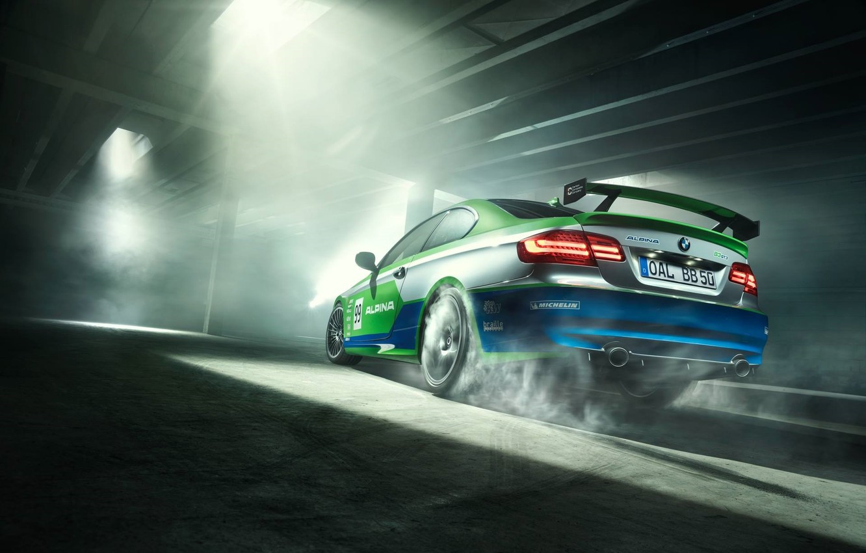 Photo wallpaper BMW, Car, Race, GT3, Smoke, Parking, Alpina, Rear, Slip