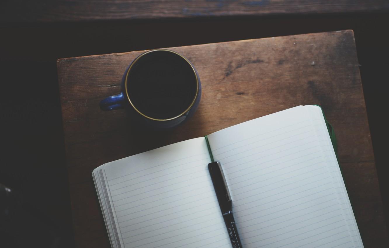 Photo wallpaper handle, mug, notebook, diary