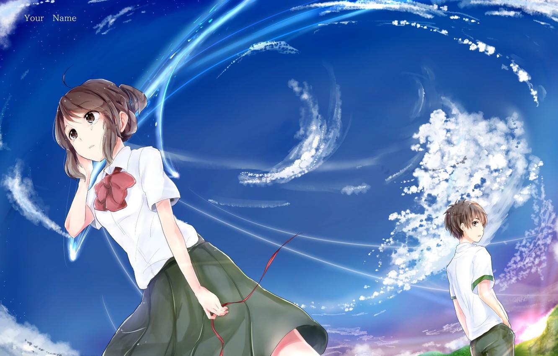 Photo wallpaper the sky girl anime guy kimi no va on