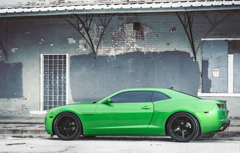 Photo wallpaper black, green, profile, green, wheels, Chevrolet, drives, black, camaro, chevrolet, Camaro, tinted
