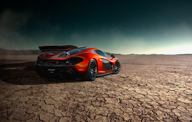 Photo wallpaper McLaren, Orange, Storm, Road, Supercar, Desert, Rear