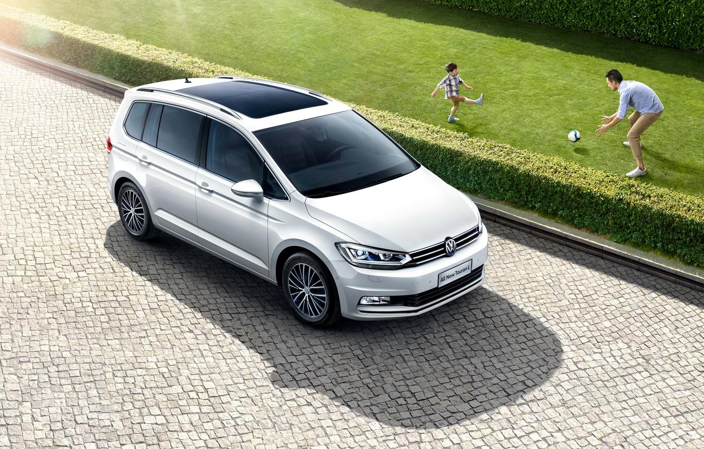 Photo wallpaper Auto, White, Volkswagen, Machine, Car, 2016, Touran L