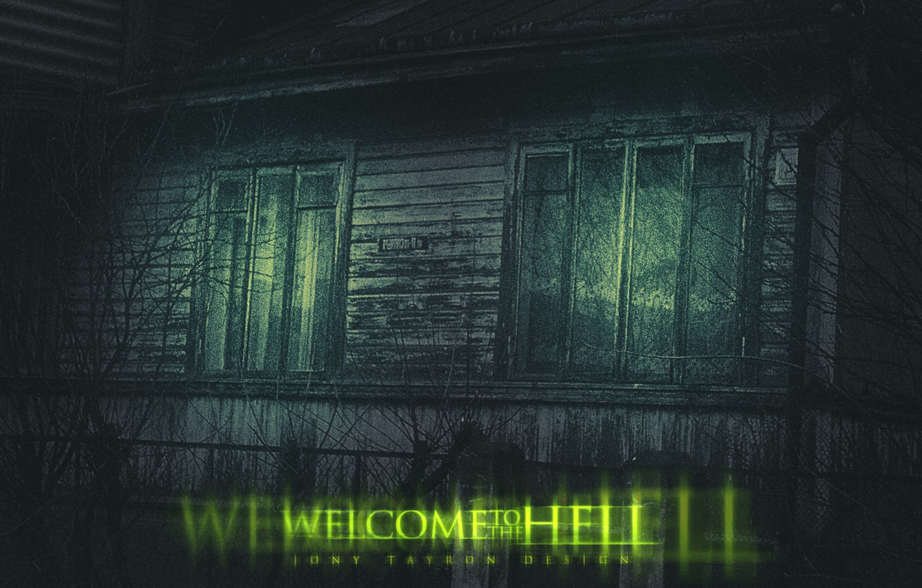 Photo wallpaper trees, Wallpaper, Windows, dark, light, wallpaper, horror, night, welcome, old house, window, hell