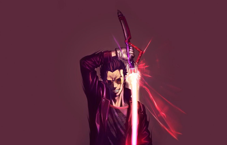Photo wallpaper sword, glasses, Anime, anime, Travis Touchdown, No More Heroes, Goichi Suda