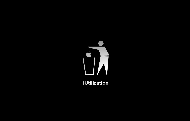 Photo wallpaper Apple, Black background, iUtilization, garbage.
