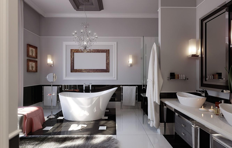 Photo wallpaper candles, chandelier, bath, modern