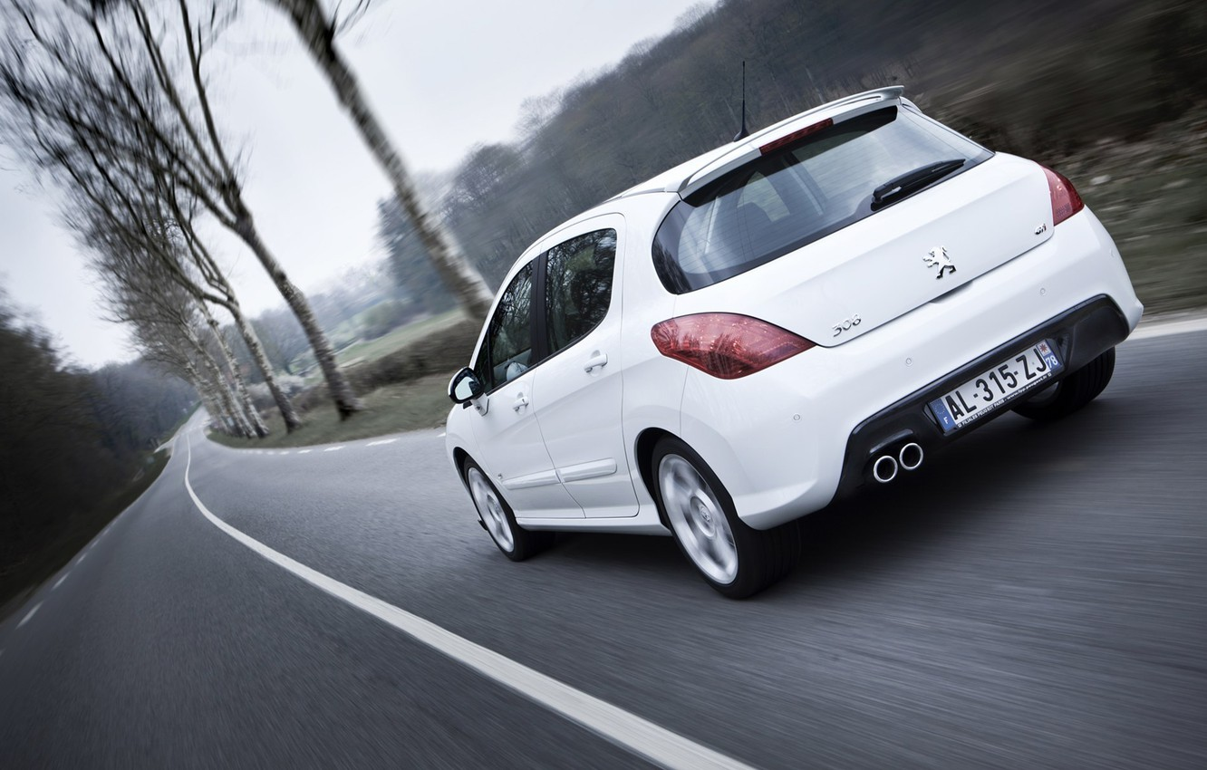 Photo wallpaper road, Peugeot, peugeot, trees cars, 308 gti