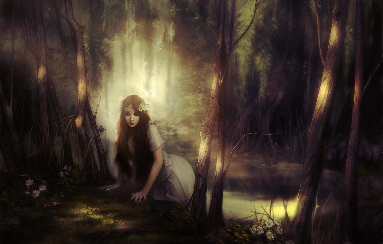 Photo wallpaper forest, girl, light, flowers, shadow, Art, pond