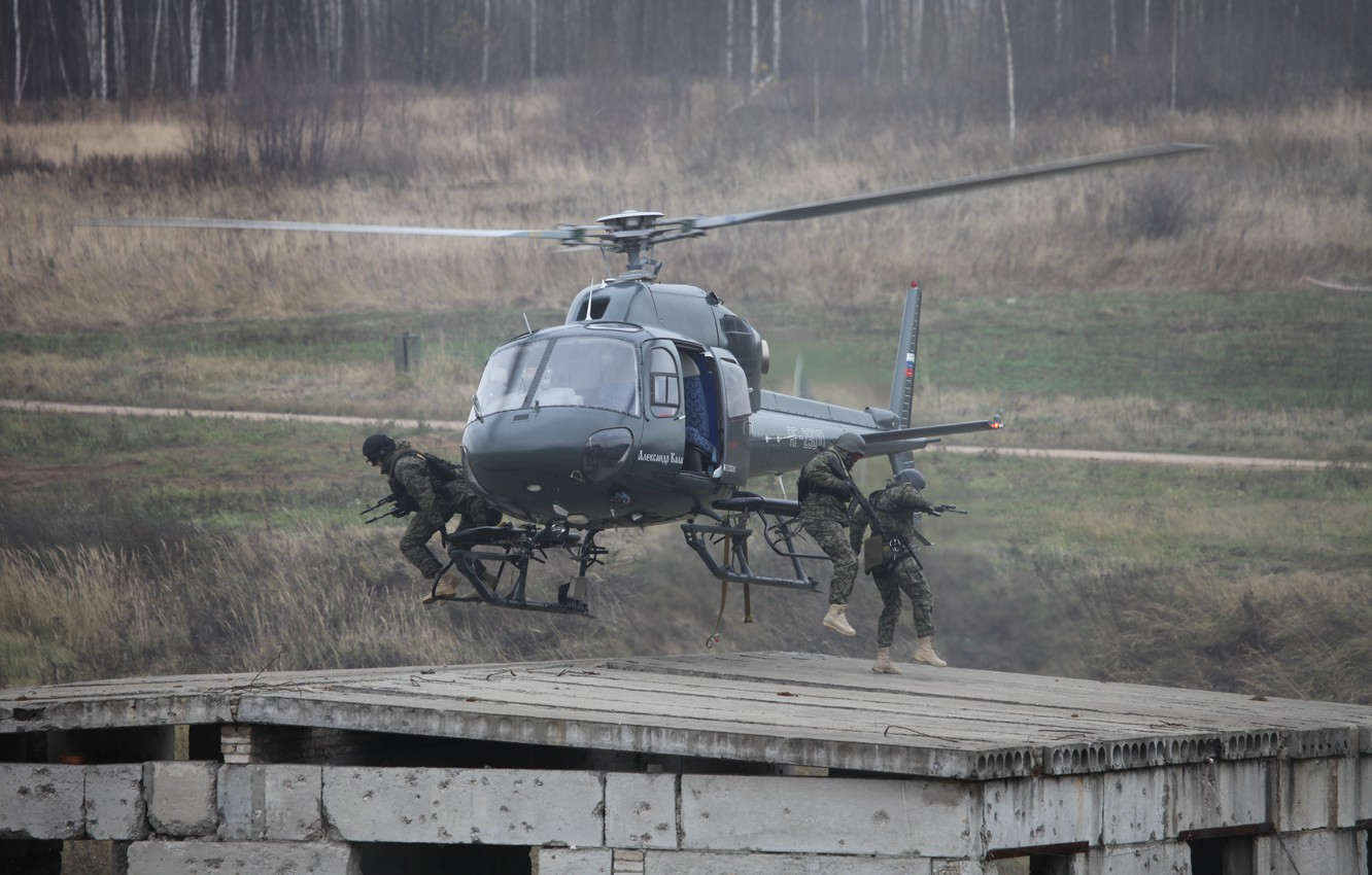Photo wallpaper HELICOPTER, AS355 N, SOBR Rys, THE INTERIOR MINISTRY, Landing