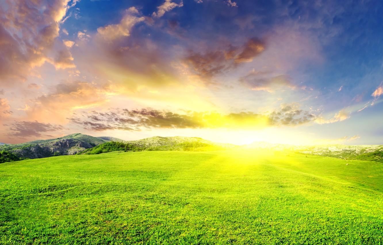 Photo wallpaper summer, the sky, the sun, clouds, landscape, mountains, glade, landscape, green, dazzling, Sunbeam