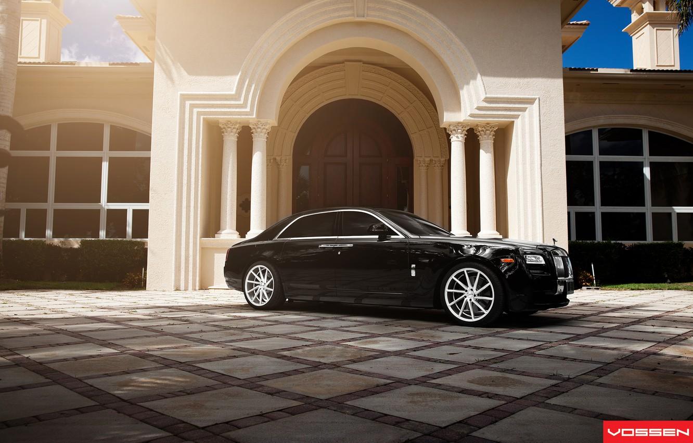 Photo wallpaper the building, Rolls Royce, Ghost, Vossen Wheels