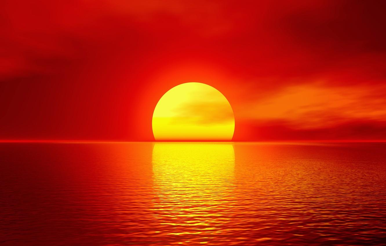 Photo wallpaper sea, the sun, sunset, red, horizon