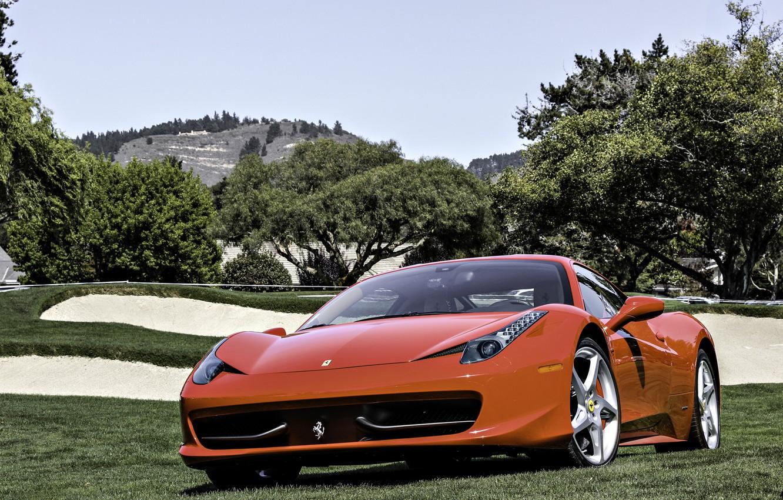 Photo wallpaper field, trees, red, Ferrari, red, grass, Ferrari, 458, sky, Italy, front, tree, 458 italia