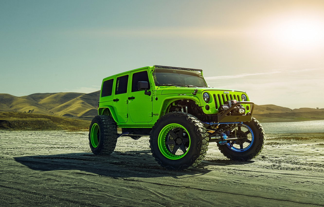 Photo wallpaper Green, Front, Sun, Forged, Custom, Wrangler, Jeep, Wheels, Track, ADV1, Function