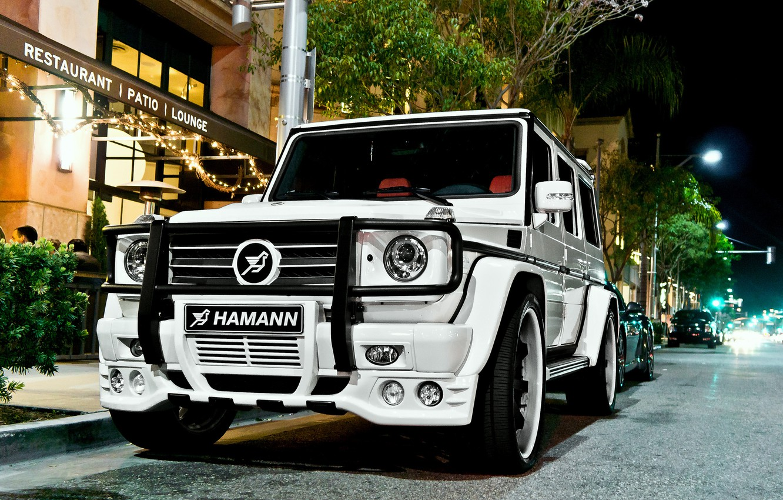 Photo wallpaper Mercedes, white, hamann, tuning, night, street, g55