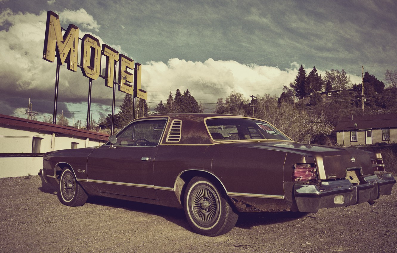 Photo wallpaper dodge, charger, Motel, 1976