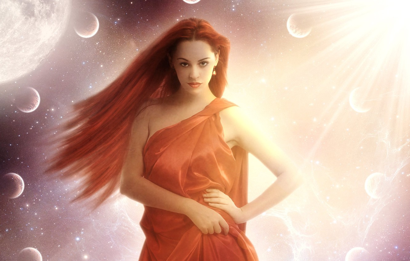 Photo wallpaper eyes, look, girl, the sun, space, stars, face, pose, fiction, planet, hands, art, lips, red …