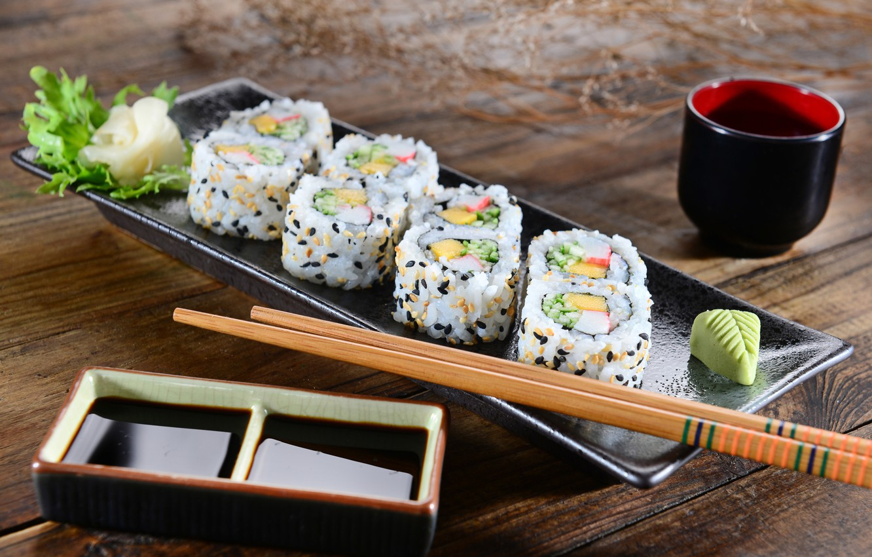 Photo wallpaper sticks, rolls, sushi, sushi, salad, rolls, Japanese cuisine, ginger, soy sauce, ginger, salad, sticks, soy …