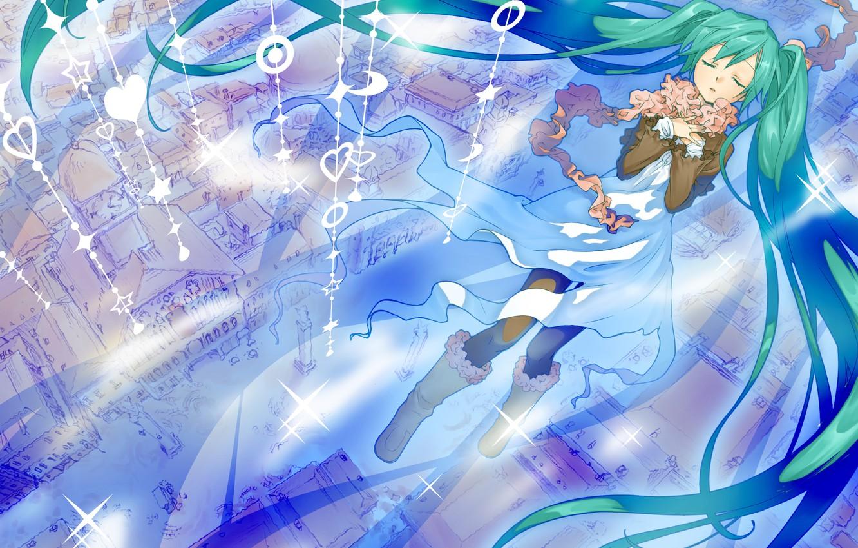 Photo wallpaper the city, home, art, hearts, Hatsune Miku, Vocaloid, Vocaloid, junji