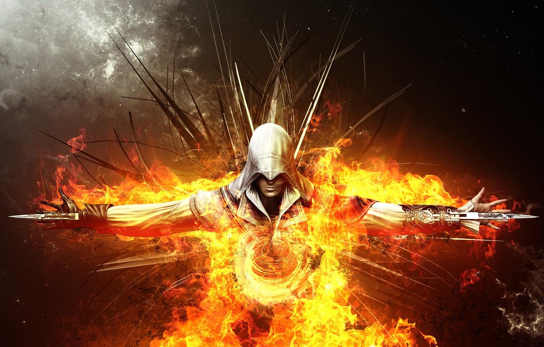 Photo wallpaper fire, flame, art, killer, swords, assassin, fear, assassin, Ezio auditore da Firenze, ezio auditore da …