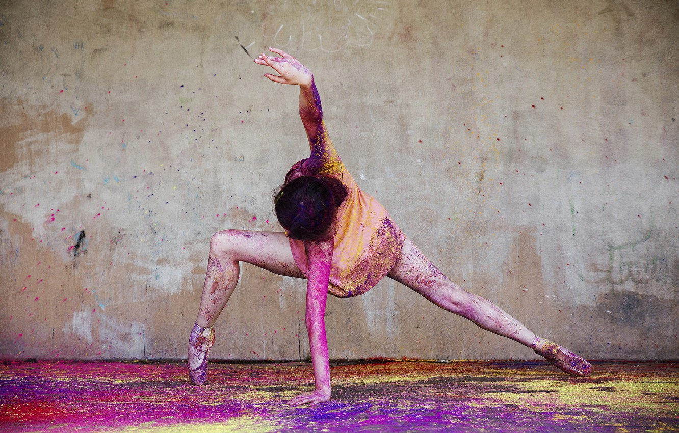 Photo wallpaper colourful, happy, colour, action, happiness, ballet, movement, moving, ballerina, powder paint