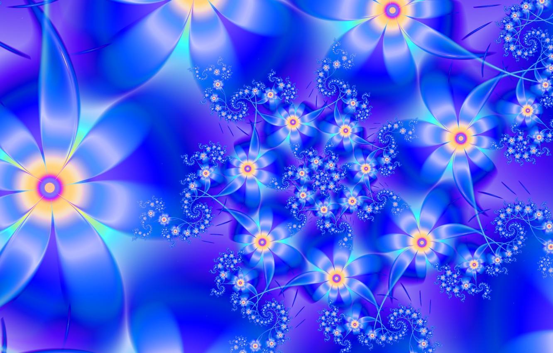 Photo wallpaper flowers, blue, petals