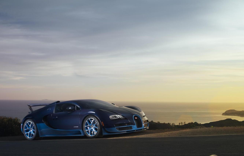 Photo wallpaper Sunset, Sea, Bugatti, Bugatti, Veyron, Veyron, Blue, Supercar, Supercar, Grand Sport, Vitesse, Vitesse