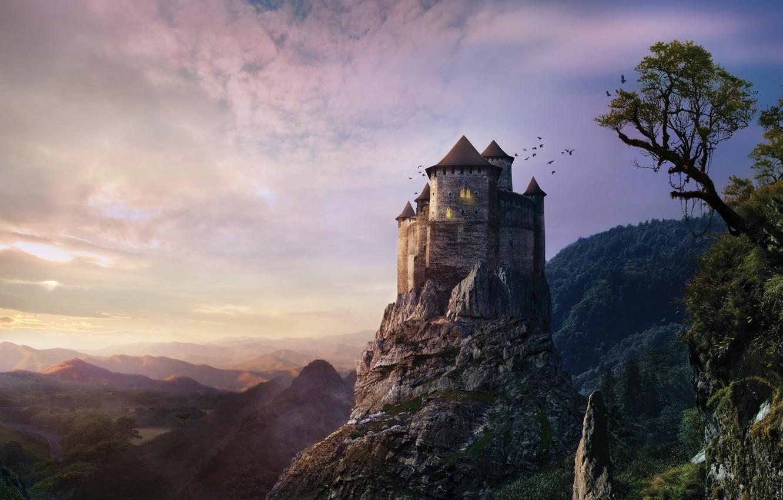Photo wallpaper the sky, trees, sunset, castle, hill, fantasy, fantasy, misty, sky, trees, sunset, hill, castle, creepy, …