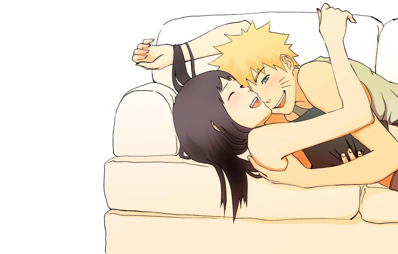 Photo wallpaper girl, love, happiness, sofa, feelings, laughter, anime, pair, naruto, guy, Naruto, Hinata
