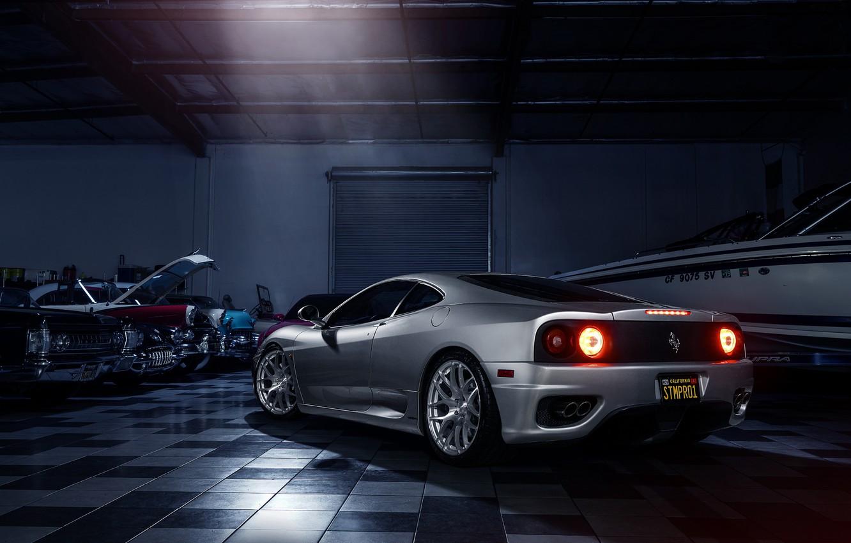Photo wallpaper Ferrari, 360, Modena, Supercar, Silver, Wheels, Before, Rear, Garde