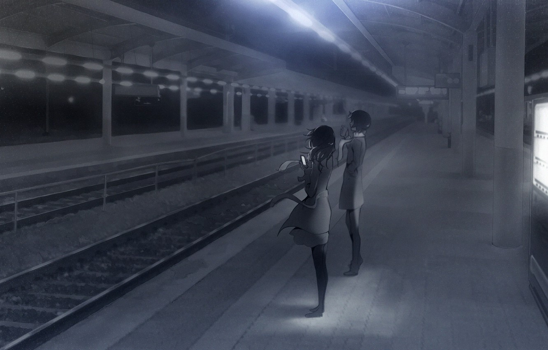 Photo wallpaper girls, the evening, anime, scarf, art, phone, platform, ladic