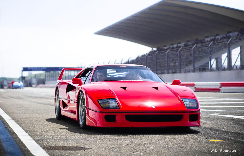 Photo wallpaper Red, Auto, Machine, Ferrari, Ferrari, F40, Supercar, Track, Supercar, The front, Ferrari F40, F 40, …