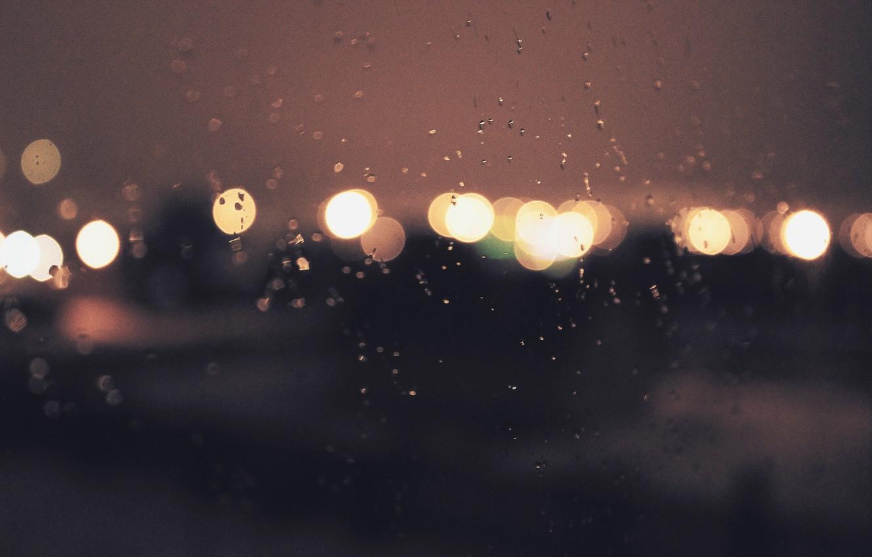Photo wallpaper glass, water, drops, night, lights, rain, Wallpaper, wallpaper, background, bokeh, bokeh