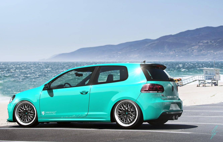 Photo wallpaper Volkswagen, Sky, Blue, Beach, Mountain, Golf, Sea, Rear