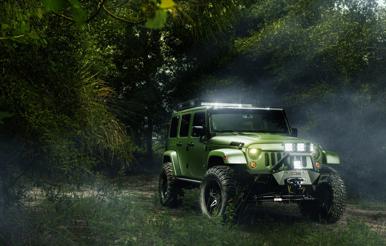 Photo wallpaper forest, green, Jeep