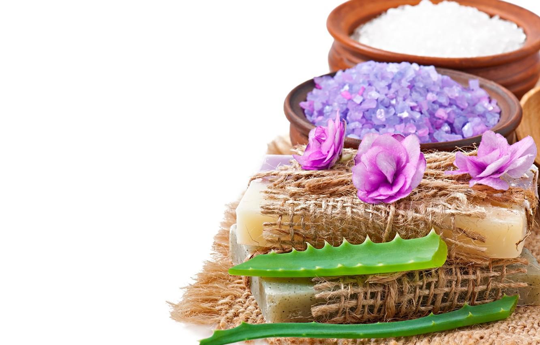 Photo wallpaper soap, flowers, lavender, spa, salt, natural, aloe
