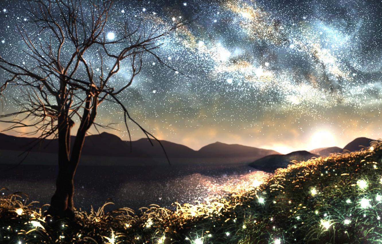 Photo wallpaper grass, space, stars, nature, fireflies, tree, horizon, art, the milky way, and-k