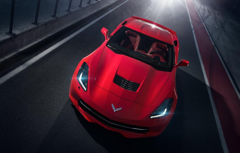 Photo wallpaper Corvette, Chevrolet, Red, Car, Front, Sport, Stingray, Track, 2014