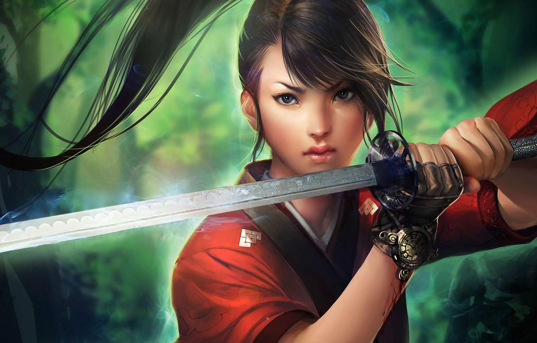 Photo wallpaper girl, magic, blood, sword, katana, art, tail, glove, sakimichan, sato