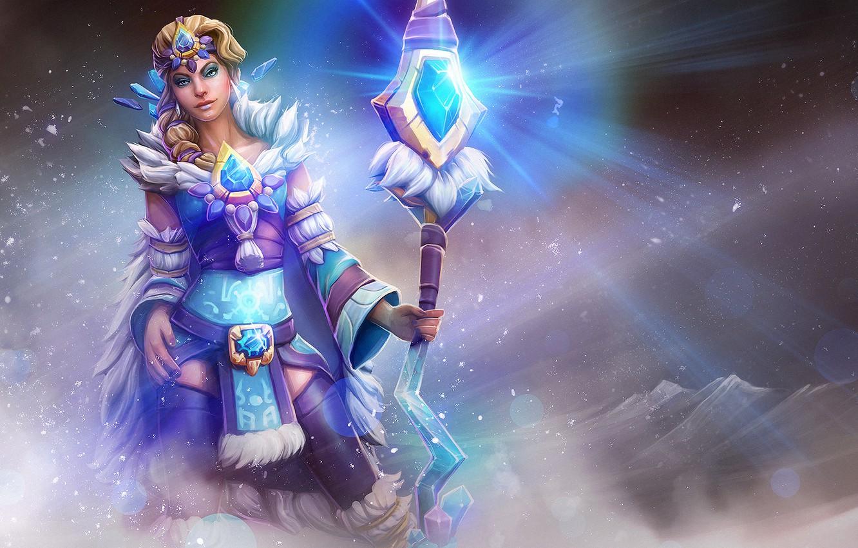 Photo wallpaper girl, staff, dota 2, crystal maiden, Frost Bringer