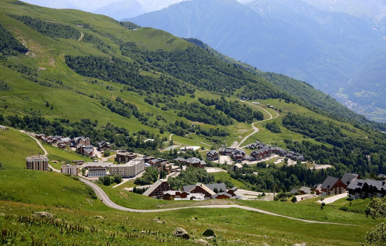 Photo wallpaper mountains, the city, France, home, horizon, Alps, Montgellafrey