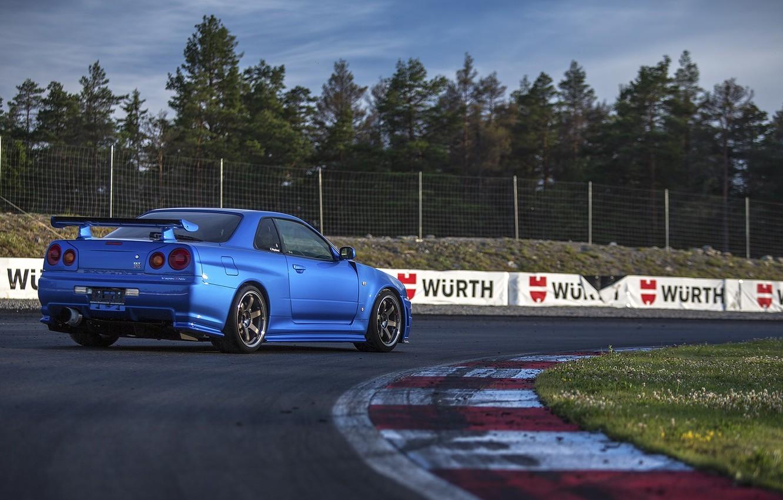 Photo wallpaper Nissan, Car, Blue, Sun, Day, Skyline, R34, Track, Rear