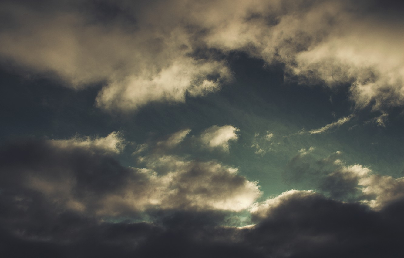 Photo wallpaper clouds, landscape, clouds, nature, darkness, green, Wallpaper, height, The sky, dark, wallpaper, sky, the Wallpapers