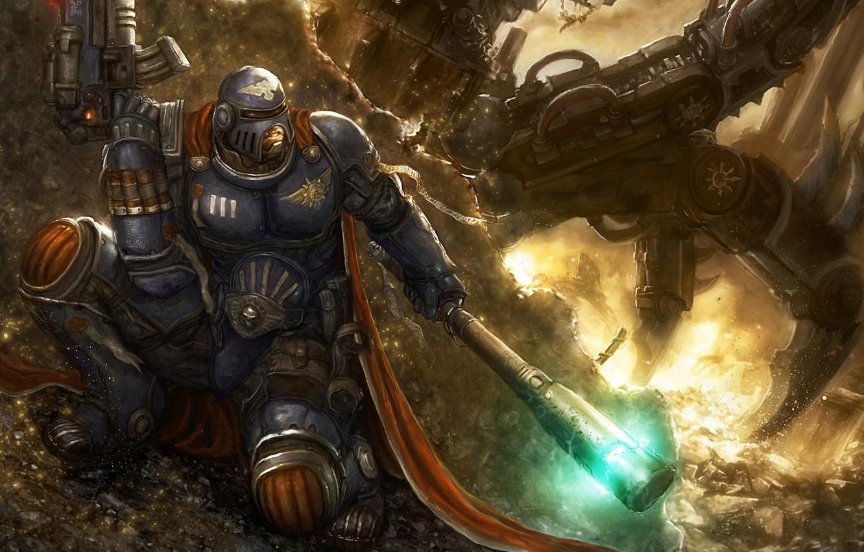 Wallpaper Fire Mechanism Battle Soldiers Warhammer