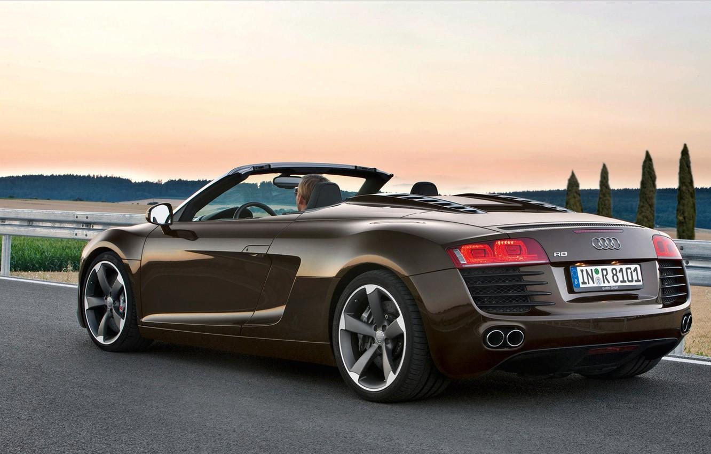Photo wallpaper road, Audi, audi, guys, r8 spyder 4-2 fsi quattro машины